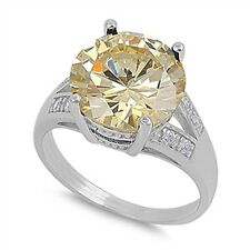 NEW 14K WHITE VERMEIL 7CTW Yellow Solitaire + clear CZ Ring-Bridal 925