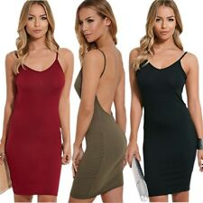 Sexy Spaghetti Strap Open Backless Bodycon Stretch Plus Summer Club Casual Dress