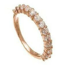 14K  ROSE VERMEIL13 STONE CUBIC ZIRCONIA ETERNITY  WEDDING BAND RING -925/SS