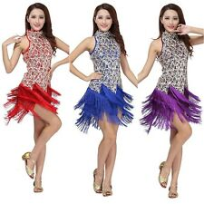 Women Bling Sequin Salsa Tassel Tango Dance Dress Ballroom Latin Dance Skirt HOT