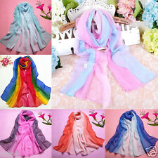2016 Fashion Scarves Lady Gradient Color Long Wrap Women's Shawl Chiffon Scarf