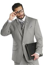 "New Grey 3 Piece Business Men Suit ""EJ Samuel"" Brand Mens Solid Gray Suits M2683"