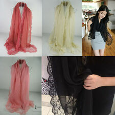 Fashion Women's Lace Chiffon Solid Soft Long Scarf Shawl Wrap Ladies Scarves New