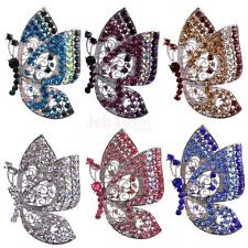 Lady Crystal Butterfly Silver Plated Alloy Charms Brooch Pins Wedding Jewelry