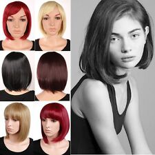 """Free Ship 12"""" BOB Short Straight Full Wigs Daily Life Party Hair Dip Dye Red Wig"""