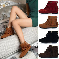Women Fringe Ankle Boots Casual Flat Heel Booties Winter Pull On Tassel Shoes