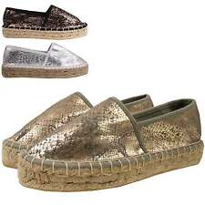 New Womens Snake Print Low Wedge Heel Flatform Espadrille Slip On Canvas Shoes