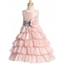 Stunning Girls Pink Party Taffeta Layered Dress: Size 2 - 12 *224*
