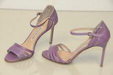 $985 New Manolo Blahnik EXOTIC Snake VIOLET Purple Strappy Sandals Shoes 37 SEXY