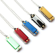Fashion Pendant Necklace Mini Metal Harmonica 4 Hole 8 Tone Kids Toys happy Gift