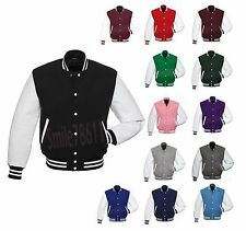 Premium Wool & Genuine Leather Sleeves Varsity Letterman School Baseball Jacket
