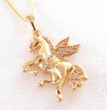 18K 24K Gold Plated Fly Horse Pegasus Leopard Charm Animal Collect Pendant Chain