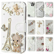 3D Bling Crystal DIY Stand Leather Card Holder Wallet Case Cover For HTC Phones
