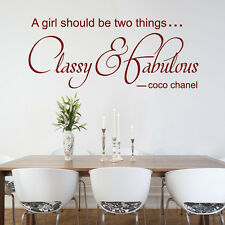 CLASSY & FABULOUS  coco quote  - Vinyl Wall Art Sticker Decal