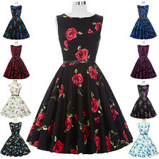 Women's Vintage 40s 50s Style Floral Rose Pattern Retro Swing Pin Up Party Dress
