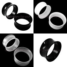 Double Flared Acrylic Flesh Tunnel light weight comfort White Black Clear 5-30mm