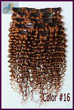 7pcs 140g Curly Wavy Clip In 100%Real Human Hair Extensions Deep Hair 16''~26''