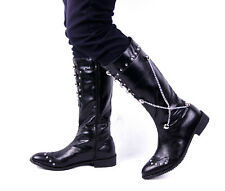 Mens Rivet Metal Chain Knee High Leather Punk Riding Rock Western Boots Fashion