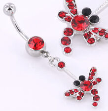"""14g 7/16"""" Gem with DragonFly Dangle Navel Belly Ring"""