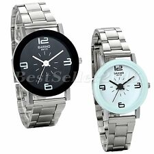 Men Women New Fashion Watch Stainless Steel Band Quartz Analog Wrist Watch Gift