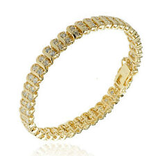 Gold Plated Sterling Silver 2 Rows Cubic Zirconia Tennis Bracelet