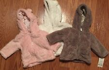 Carters Pink Gray White Sherpa Bear Hooded Zip Baby Infant Jacket Coat 3M NWT