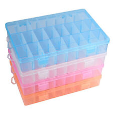 Adjustable 24 Compartment Plastic Craft Beads Storage Box Jewelry Earring Case