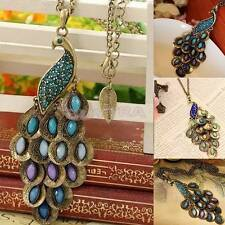Fashion Vintage Bronze Style Peacock Blue Green Crystal Chain Pendant Necklace