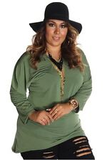 121AVENUE Classy Simple Long Sleeve Top 1X 2X 3X Women Plus Size Green