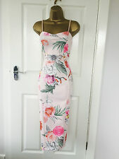 Pink Floral Evening Midi Pencil Bodycon Wiggle Party Dress BNWT 8 10 12 14 £65