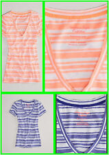 American Eagle Outfitters Pink Or Purple Striped Favorite Tee AE V-Neck TShirt!