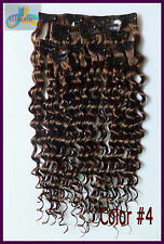 10pcs 220g Deep Wavy Hair Clip In Curly 100%Real Human Hair Extensions #4 Brown
