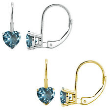 2 Ct Aquamarine 7mm Heart CZ Lever Back Dangling 14K White/Yellow Gold Earrings