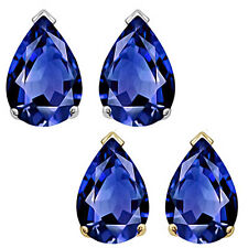 8x5mm Pear CZ Sapphire Birthstone Gemstone Stud Earrings 14K White Yellow Gold