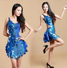 Fashion New Womens SExy Sequined Latin Salsa Dance Dress Adult Dancewear Costume