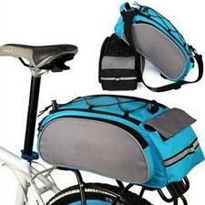 Cycling Bicycle Bike Bag Pack Rear Seat Pannier Rack Carrier Pannier Blue/ Black