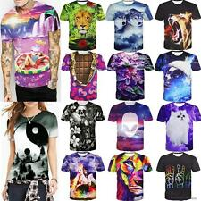 Unisex Wolf Skull 3D Print Fashion Short Sleeve Blouse Round Casual Tops T Shirt