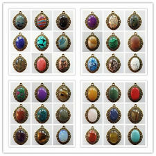 1Pcs/2Pcs Bronze Inlay Mixed Gemstone Oval Pendant Bead (sent randomly) S-31