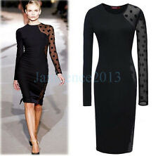 Women Polka Dot Lace Long Sleeve Cocktail Party Evening Maxi Prom Ball Dress