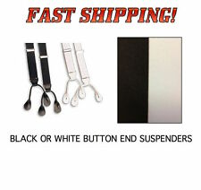 "BLACK or WHITE Formal Tuxedo Suspenders Braces NEW BUTTON ON End ""Y"" BACK"