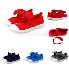 Kids Girls Boys Bowknot Hook and Loop Mary Jane Flats Canvas Shoes Plimsolls