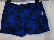 BLUE/BLACK Floral Cotton Cuffed Shorts Sz 4,6,8~Dress/Casual Fun Flirty Shorts