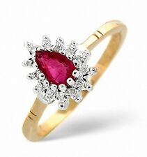 9K Gold 0.14ctw Diamond & Ruby Oval Cluster Ring  Sizes F - Z Made in London