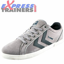Hummel Mens Game Lo Casual Classic Suede Leather Trainers Grey AUTHENTIC