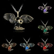 Retro Women Love Owl Crystal Necklace Pendant Rhinestone Long Sweater Chain Gift