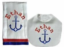 Personalized Embroidered Handmade Blue Red Anchor Nautical Bib Burp Cloth Set