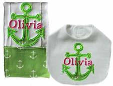 New Personalized Embroidered Handmade Green Anchor Nautical Bib Burp Cloth Sets