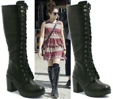 LADIES WOMENS KNEE HIGH BLACK LACE UP BIKER PUNK MILITARY COMBAT BOOTS SHOES