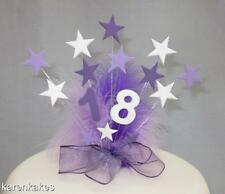 PURPLE, LILAC & WHITE STAR BIRTHDAY CAKE TOPPER WITH FEATHERS 18th 21st 30th etc