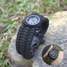 Paracord Survival Bracelet Camping Compass Flint Fire Starter Whistle Gear Kits
